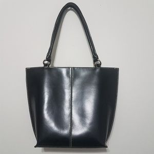 Wilsons Leather Black Handbag w/ White Stitching